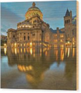 Boston Christian Science Building Reflecting Pool Wood Print