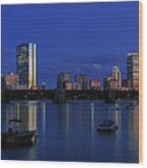 Boston City Lights Wood Print
