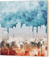 Boston City Skyline Watercolor 2 Wood Print