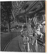 Boston Common Carousel Boston Ma Black And White Wood Print
