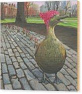 Boston Ducklings Getting Their Pink On Wood Print