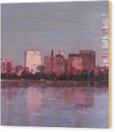 Boston Evening Wood Print by Lyn Vic