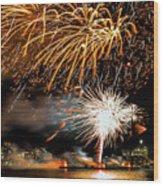 Boston Fireworks On The Charles Wood Print