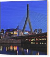 Boston Garden And Zakim Bridge Wood Print by Rick Berk