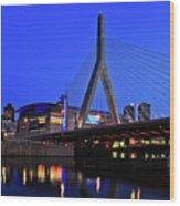 Boston Garden And Zakim Bridge Wood Print