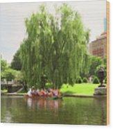 Boston Garden Swan Boat Wood Print
