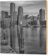 Boston Habor Sunrise Bw Wood Print