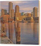 Boston Habor Sunrise Wood Print