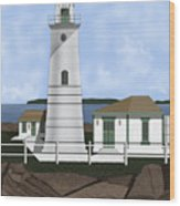 Boston Harbor Lighthouse On Brewster Island Wood Print