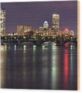Boston Harbor Nights-panorama Wood Print by Joann Vitali