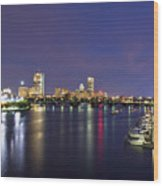 Boston Harbor Skyline Wood Print by Joann Vitali