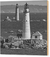Boston Light With Graves Light Wood Print