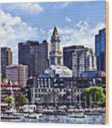 Boston Ma - Skyline With Custom House Tower Wood Print