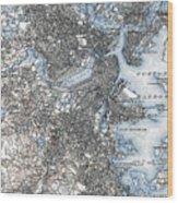 Boston Map, 1903 Wood Print