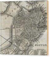 Boston Map Of 1842 Wood Print
