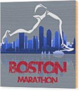 Boston Marathon 3a Running Runner Wood Print