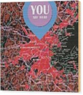 Boston Massachusetts 1948 Red Old Map You Are Here Wood Print