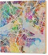 Boston Massachusetts Street Map Wood Print