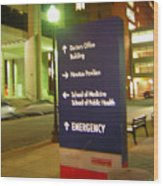 Boston Medical At Night Wood Print