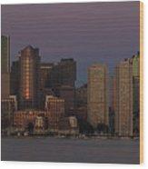 Boston Moonset And Sunrise Wood Print