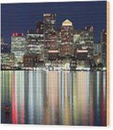 Boston Night Skyline Panorama Wood Print