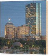 Boston Night Skyline Iv Wood Print