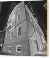 Boston Old State House Boston Ma Angle Black And White Wood Print
