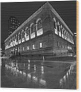 Boston Public Library Rainy Night Boston Ma Black And White Wood Print
