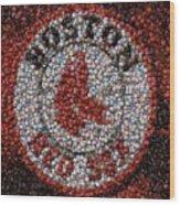 Boston Red Sox Bottle Cap Mosaic Wood Print by Paul Van Scott