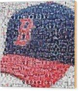 Boston Red Sox Cap Mosaic Wood Print by Paul Van Scott