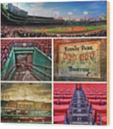 Boston Red Sox Collage - Fenway Park Wood Print