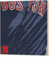 Boston Red Sox Typography Blue Wood Print