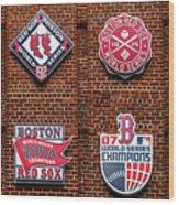 Boston Red Sox World Series Emblems Wood Print
