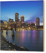 Boston Skyline At Dusk Wood Print