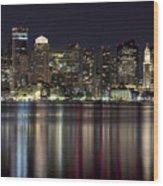 Boston Skyline At Night Wood Print