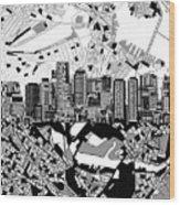 Boston Skyline Black And White Wood Print