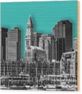 Boston Skyline - Graphic Art - Cyan Wood Print