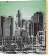 Boston Skyline - Graphic Art - Green Wood Print