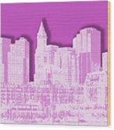 Boston Skyline - Graphic Art - Pink Wood Print