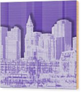 Boston Skyline - Graphic Art - Purple Wood Print