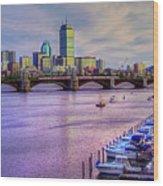 Boston Skyline Sunset Wood Print by Joann Vitali