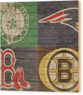 Boston Sports Teams Barn Door Wood Print