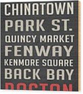 Boston Subway Stops Poster Wood Print