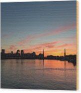 Boston Sunset Wood Print