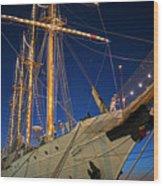 Boston Tall Ship Flags Boston Ma Sailors Blue Sky Wood Print