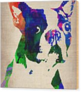 Boston Terrier Watercolor Wood Print by Naxart Studio