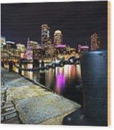 Boston Waterfront Skyline View Boston Ma Wood Print
