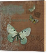 Botanica Vintage Butterflies N Moths Collage 4 Wood Print
