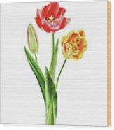 Botanical Tulip Bouquet Watercolor Wood Print