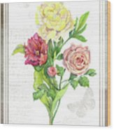 Botanical Vintage Style Watercolor Floral 3 - Peony Tulip And Rose With Butterfly Wood Print